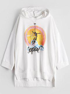 Drop Shoulder Graphic High Low Hoodie - White