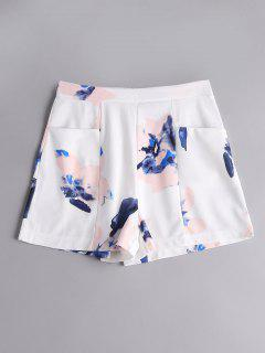 Floral High Waist Shorts With Pockets - Floral M