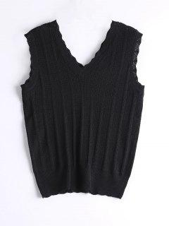 Knitted Hollow Out Tank Top - Black