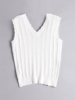 Knitted Hollow Out Tank Top - White