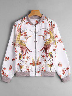 Phoenix Print Bomber Jacket - White Xl