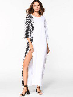 Robe Longue Rayée à Fente élevée à épaules Tombantes - Blanc Xl