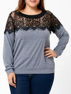 Lace Panel Plus Size Two Tone Top - Gray 2xl