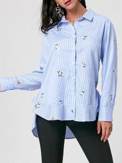 Striped Embroidery High Low Hem Shirt - Blue Stripe 2xl