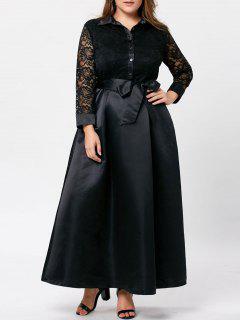 Plus Size Lace Trim Swing Maxi Dress - Black 4xl