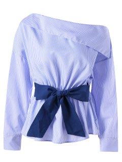 Skew Collar Bowknot Embellished Striped Blouse - Blue Stripe M