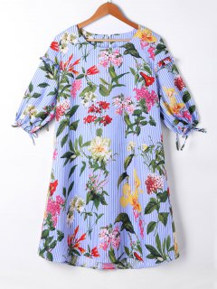Striped Floral Lantern Sleeve Shift Dress - Light Blue Xl