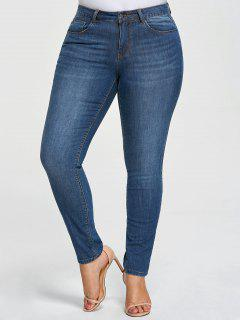Plus Size Five Pockets Pencil Jeans - Denim Blue 5xl