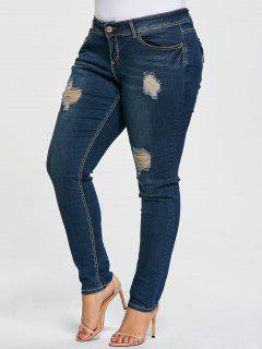 Plus Size Ripped Pencil Jeans - Denim Blue 3xl
