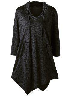Plus Size Asymmetrical Kangaroo Pocket Drawstring Tee - Black 2xl