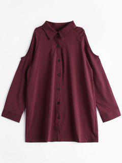 Cold Shoulder Button Up Longline Shirt - Wine Red Xl