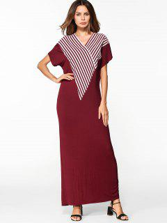 V Neck Striped Shift Maxi Dress - Red Xl