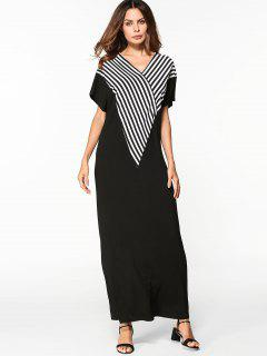V Neck Striped Shift Maxi Dress - Black S
