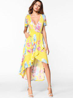 Floral Low Cut High Low Hem Dress - Yellow L