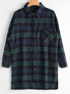 Plaid Button Down Flannel Shirt - Deep Green S