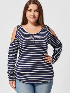 Striped Plus Size Open Shoulder Top - Black Stripe 5xl