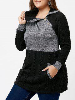 Sweater Grande Taille Tricoté Câble Contrasté à Poches - Noir 5xl