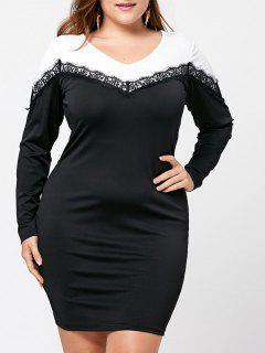 Plus Size Long Sleeve Two Tone Dress - Black 2xl