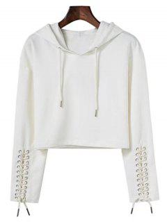 Cropped Lace Up Sleeve Sporty Hoodie - White S
