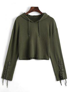 Cropped Lace Up Sleeve Sporty Hoodie - Army Green S