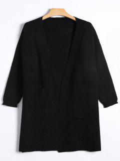Long Open Front Knitted Cardigan - Black