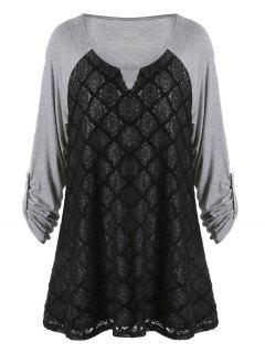 Plus Size Lace Panel Raglan Sleeve T-shirt - Black And Grey 2xl