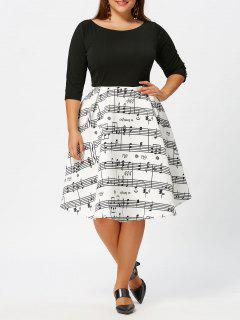 Plus Size Musical Notes Print Vintage Dress - White And Black 3xl