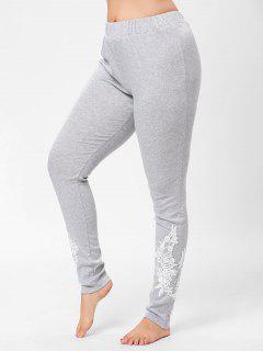 Plus Size Floral Lace Panel Pants - Gray Xl