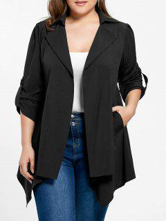 Plus Size Asymmetrical Roll-tab Sleeve Jacket - Black 5xl