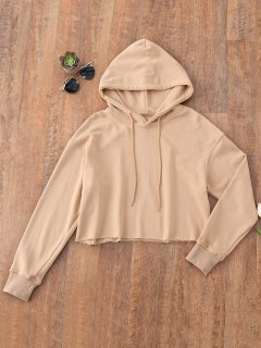 Pullover Cropped Sporty Hoodie - Khaki M