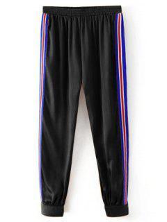 Sporty Striped Jogger Pants - Black M