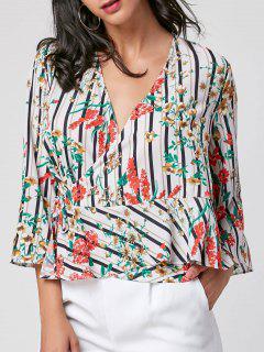 Floral Print Wrap Drop Taille Bluse - L