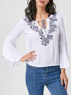 Floral Embroidered Tassel Bell Sleeve Blouse - White L
