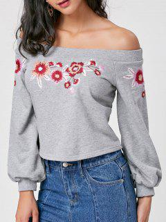 Off The Shoulder Floral Embroidery Sweatshirt - Gray S