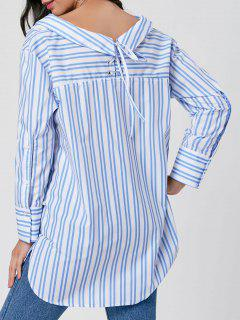 Striped Lace Up V Neck Blouse - Blue L