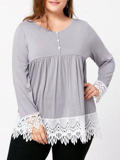Plus Size Lace Trim Babydoll Top - Light Gray Xl