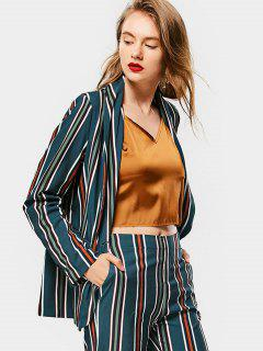Buttoned Flap Pockets Stripes Blazer - Stripe S