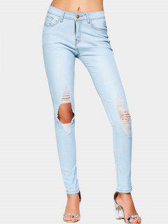 Cut Out High Waist Ripped Jeans - Light Blue L