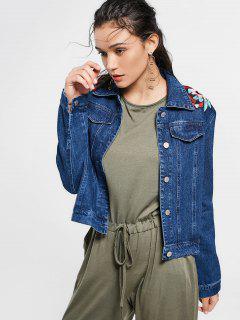Floral Patched Faux Pockets Embellished Denim Jacket - Deep Blue L