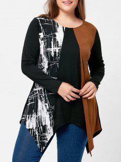 Plus Size Long Sleeve Handkerchief T-shirt - Black 5xl