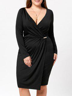 Plus Size Long Sleeve Plunging Dress - Black 5xl