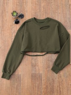 Cropped Ripped Sweatshirt - Army Green