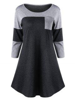 Patch Pocket Marled Tunic Top - Gray 2xl