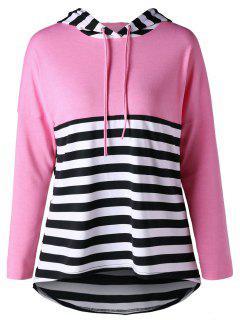 Striped High Low Hem Hoodie - Light Pink 2xl