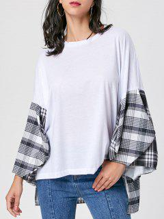 Plaid Insert High Low Drop Shoulder Blouse - White M