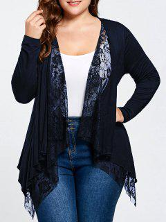 Plus Size Lace Panel Cardigan - Purplish Blue 5xl