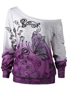 Plus Size Butterfly Print Ombre Sweatshirt - White + Purple 4xl