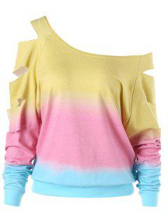 Ripped Sleeve Ombre Sweatshirt - Yellow M