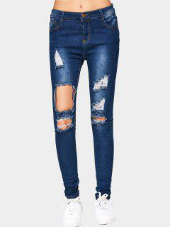 Cut Out Ripped Jeans - Deep Blue M