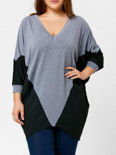 Color Block Plus Size Dolman Sleeve Top - Black And Grey 2xl